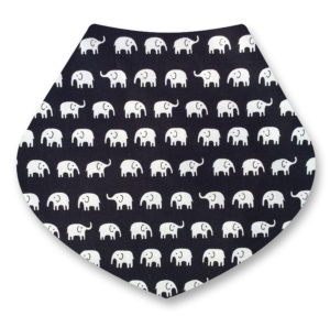 Elephants on blackDribble Bib