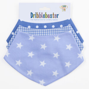 selection of blue bandana dribble bib