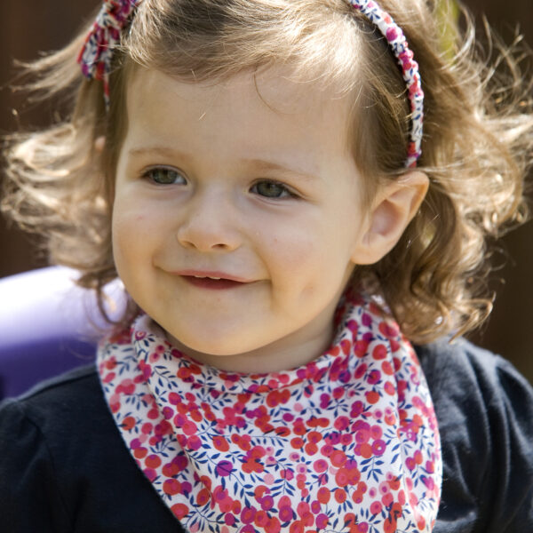 Red Floral Baby Dribble Bib